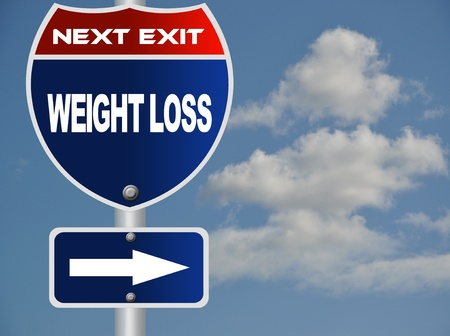 profit and loss: Weight loss road sign