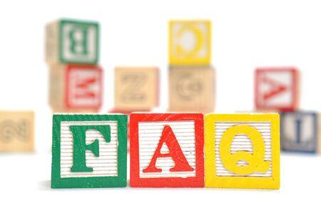 Alphabet Blocks spelling the words faq photo
