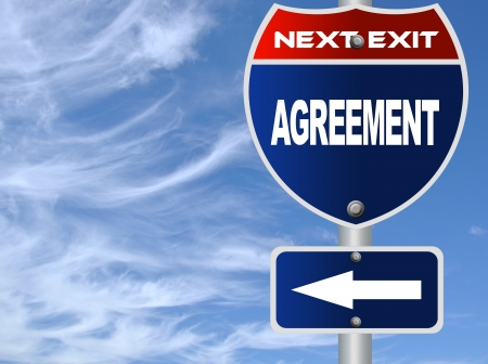 Agreement road sign photo
