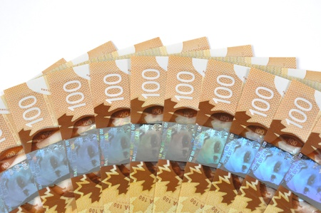 one hundred dollars: New Canadian one hundred bill background with white copyspace