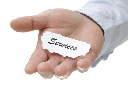 up service: Businessman holding services note with white copy space  Stock Photo