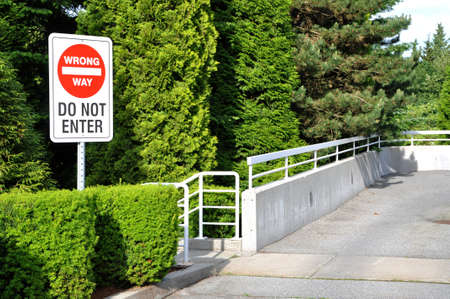 Bright red &quot,wrong way&quot, do not enter sign Stock Photo - 14785397