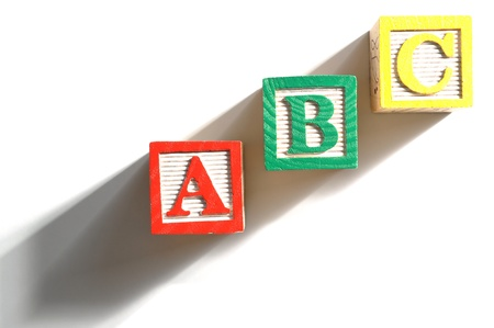 Alphabet Blocks spelling the words abc on white background Stock Photo - 15846262