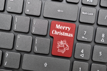 Merry christmas on keyboard photo