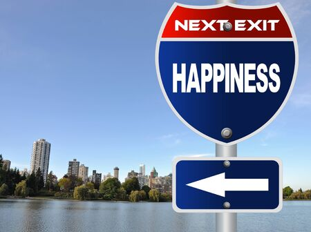 Happiness road sign photo