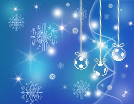 Christmas background with football balls photo