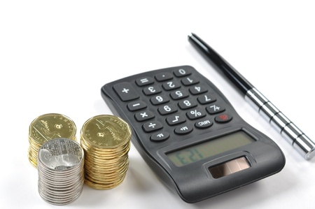 account executive: Finance items on white background