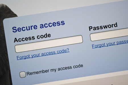 Secure access log-in web page on screen Stock Photo - 16731960