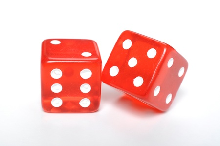 six objects: Red dices on white background