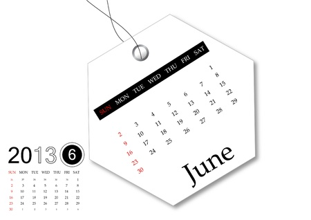 June of 2013 calendar for tag design