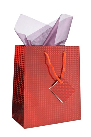 Red shopping bag with gift wrap Stock Photo - 16879922