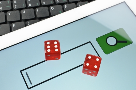 Playing dice for game online on computer keyboard Stock Photo - 16879943