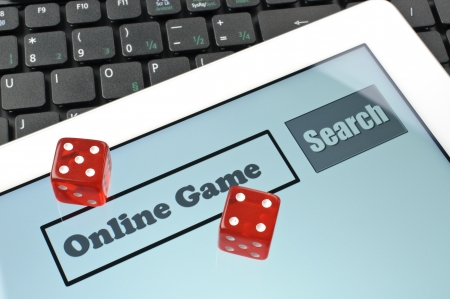 Playing dice for game online on computer keyboard  photo