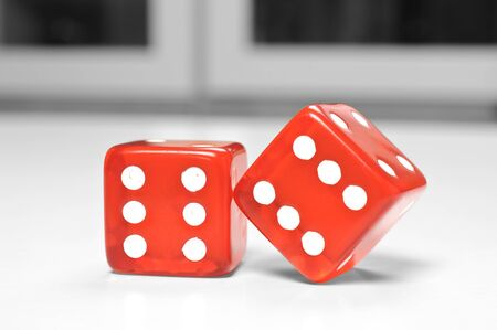 six objects: Macro two dices at game room Stock Photo