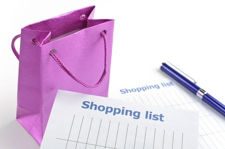 Shopping list with gift bag for your Xmas Stock Photo - 16959690