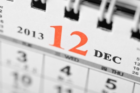 December of 2013 calendar on black background Stock Photo - 16959681