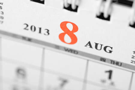August of 2013 calendar on black background Stock Photo - 16959639