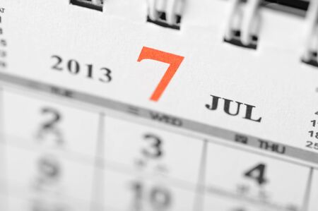July of 2013 calendar on black background Stock Photo - 16959652