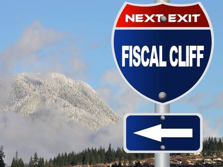 fiscal cliff: Fiscal cliff road sign Stock Photo