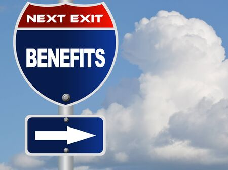 Benefits road sign Stock Photo - 16959685