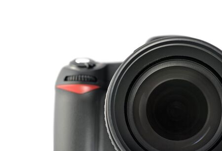 Macro digital camera on white background photo