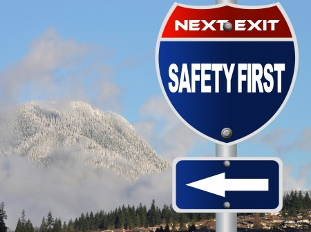Safety first road sign  Stock Photo