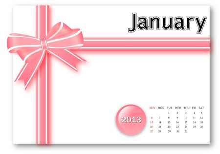 January of 2013 calendar for gift pack design Stock Photo - 17124629