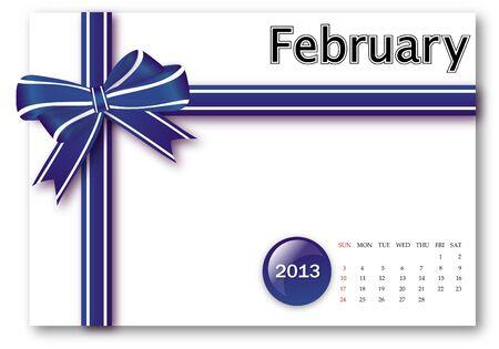 February of 2013 calendar for gift pack design