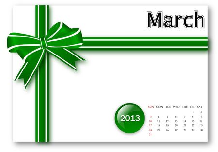 March of 2013 calendar for gift pack design Stock Photo - 17124626