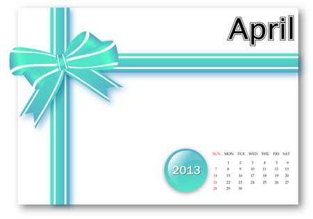 April of 2013 calendar for gift pack design Stock Photo - 17124623