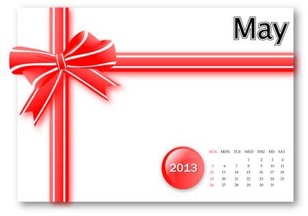 May of 2013 calendar for gift pack design