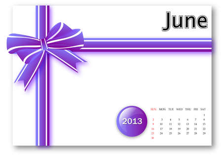 June of 2013 calendar for gift pack design Stock Photo - 17124622
