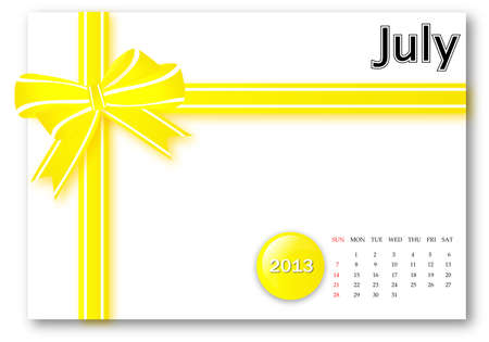 July of 2013 calendar for gift pack design Stock Photo - 17124621