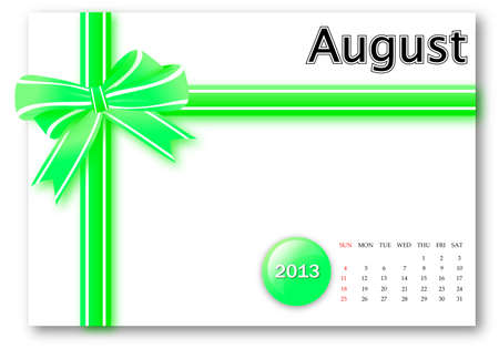 August of 2013 calendar for gift pack design  Stock Photo - 17124624