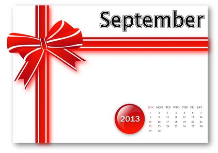 September of 2013 calendar for gift pack design Stock Photo - 17124637