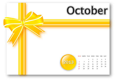 October of 2013 calendar for gift pack design  Stock Photo - 17124630