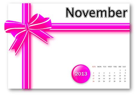November of 2013 calendar for gift pack design  Stock Photo - 17124628