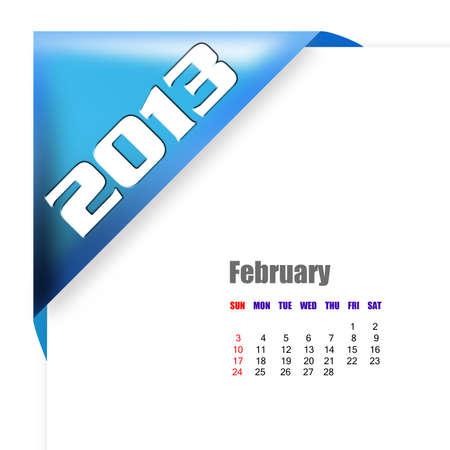 2013 February calendar on white background