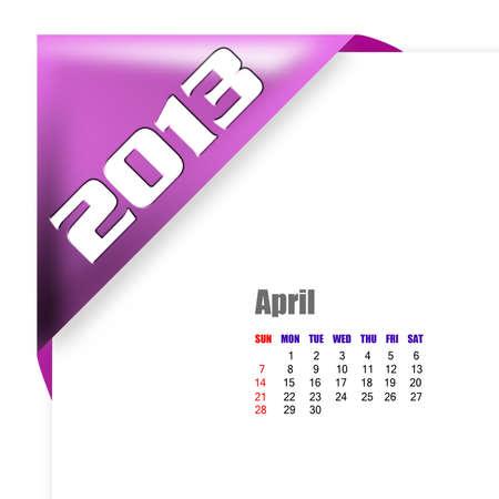 2013 April calendar on white background