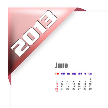 2013 June calendar on white background photo