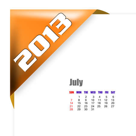 diary: 2013 July calendar on white background