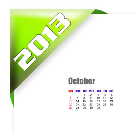 october calender: 2013 Octubre calendario sobre fondo blanco