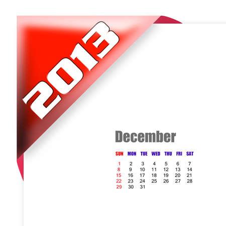 december calendar: 2013 Dicembre calendario su sfondo bianco