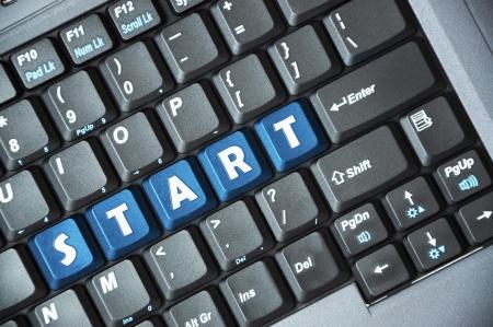 Blue start key on keyboard Stock Photo - 17285960
