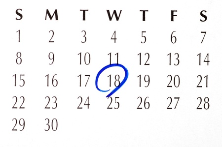 important date: Important date circled on a daily month calendar Stock Photo