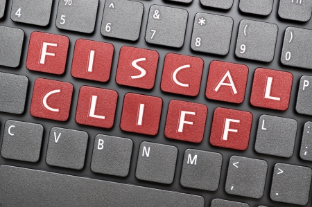 fiscal cliff: Red fiscal cliff key on keyboard
