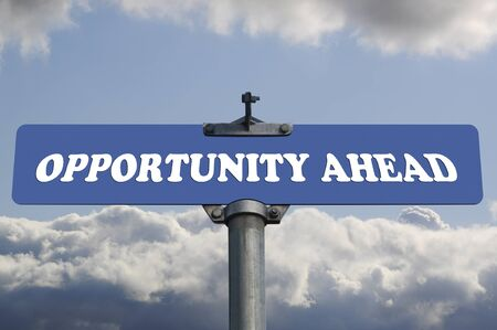 positive attitude: Opportunity ahead road sign Stock Photo