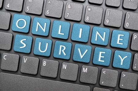 Blue online enquête op het toetsenbord Stockfoto - 17747046