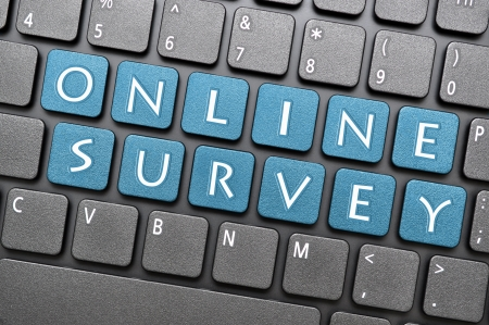 Blue online survey key on keyboard Stock Photo - 17747046