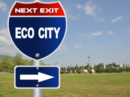 Eco city road sign photo